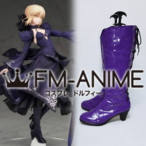 Fate/Grand Order Saber Alter Purple Dress Vesrion Cosplay Shoes Boots