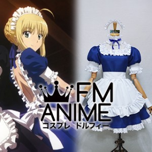 Fate/hollow ataraxia Saber Blue Maid Version Cosplay Costume