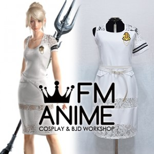 Final Fantasy XV: A New Empire LunaFreya Nox Fleuret White Dress Cosplay Costume