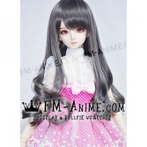 Medium Length Wavy Smoky Gray BJD Dolls Wig