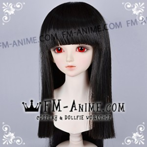 Long Straight Neat Bangs Black Hell Girl Ai Enma Cosplay BJD Dolls Wig