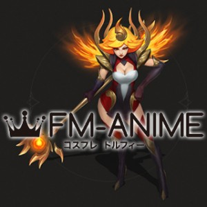 League of Legends Elementalist Lux Fire Version Cosplay Costume & Wig