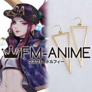 League of Legends K/DA Akali Virtual K-pop Band Metal Gold Triangle Earrings Cosplay Accerrory
