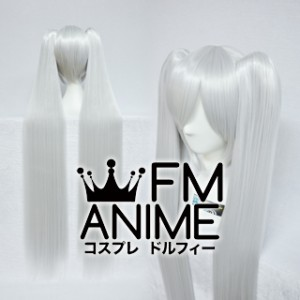 Long Length Clips on Straight Silver White Cosplay Wig