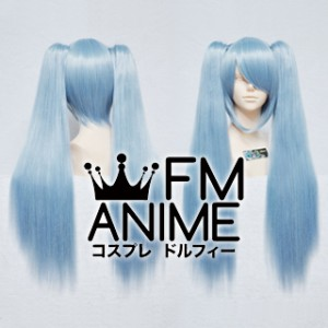Medium Length Clips on Straight Mixed Sky Blue Cosplay Wig