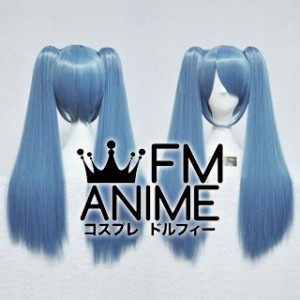 Medium Length Clips on Straight Mixed Smoky Blue Cosplay Wig