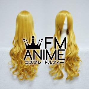 Medium Length Wavy Pure Gold Cosplay Wig
