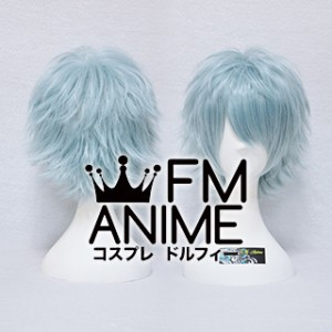 Short Spike Style Mixed Grayish Blue Cosplay Wig