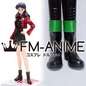 Neon Genesis Evangelion Misato Katsuragi Black Green Cosplay Shoes Boots