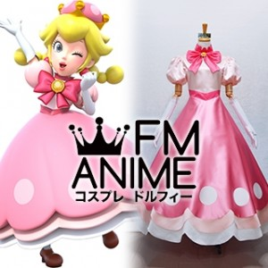 New Super Mario Bros. U Deluxe Toadette Pink Dress Cosplay Costume