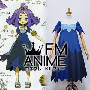 Pokemon Sun and Moon Acerola Blue Dress Cosplay Costume