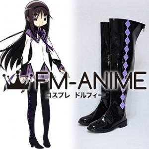 Puella Magi Madoka Magica Akemi Homura Black Purple Cosplay Shoes Boots