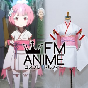 Re:ZERO -Starting Life in Another World- Ram Kid Pink Kimono Cosplay Costume