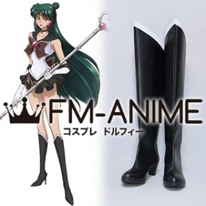 Sailor Moon Setsuna Meioh (Sailor Pluto) Black Cosplay Shoes Boots