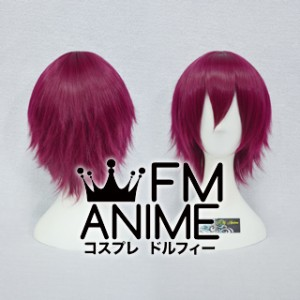 Short Layered Rosy Wine Red Cosplay Wig