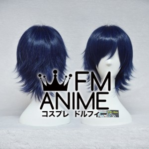 Short Spike Style Blue Mixed Black Cosplay Wig #D0810