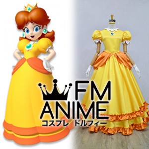 Super Mario Princess Daisy Yellow Dress Cosplay Costume