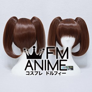Short Length Clips on Straight Mixed Brown Cosplay Wig