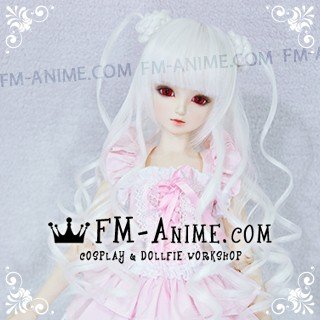 Medium Length Wavy with Braided Twin Buns White BJD Dolls Wig