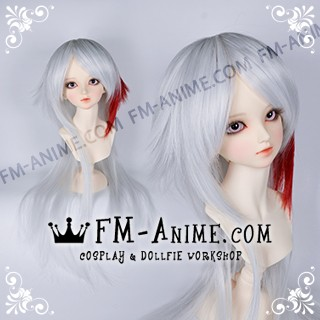Medium Length Layered with Straight Ponytail Silver White & Dark Red BJD Dolls Wig