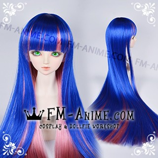 Long Straight Neat Bangs Boa Blue & Smoky Pink Stocking Cosplay BJD Dolls Wig