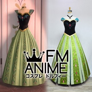 [Limited Edition] Frozen (Disney 2013 film) Anna Coronation Green Dress Cosplay Costume