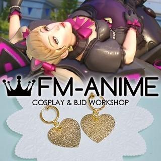Overwatch D.Va Cat Girl Skin Lolita Gold Heart Earrings Cosplay Accessory Prop