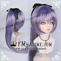 Medium Length Straight Ponytail Mixed Silver Purple BJD Dolls Wig