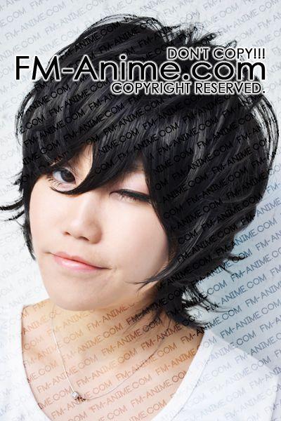 FM-Anime - Short Wavy Black Cosplay Wig