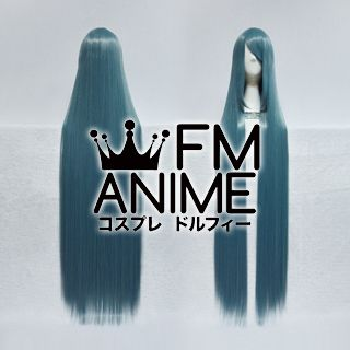 120cm Long Straight Mixed Smoky Blue Cosplay Wig
