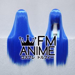 80cm Medium Length Straight Dark Blue Cosplay Wig