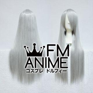 80cm Medium Length Straight Mixed Gray Cosplay Wig