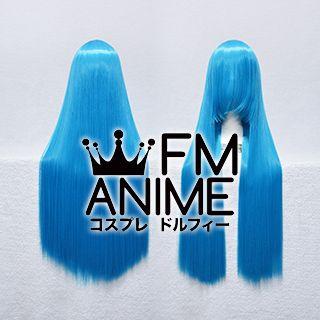 80cm Medium Length Straight Sea Blue Cosplay Wig
