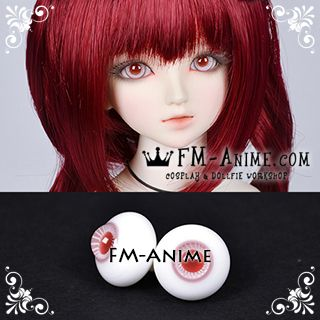 16mm Pale Red Violet Stripe & Dark Red Pupil BJD Dolls Glass Eyes Eyeballs Accessories