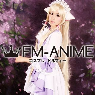 """Chobits Chii Purple & White Lolita Dress Cosplay Costume (From Artbook """"Your eyes only"""")"""
