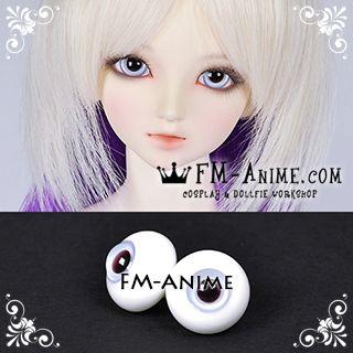 14mm / 16mm / 18mm Mist Blue & Black Pupil BJD Dolls Glass Eyes Eyeballs Accessories