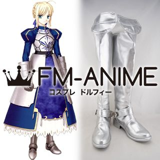 Fate/stay night Saber Cosplay Shoes Boots (Silver)