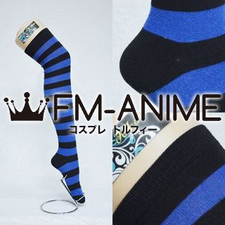 Blue & Black Over Knee Thigh High Striped Socks Fashion Cosplay Anime Lolita Punk