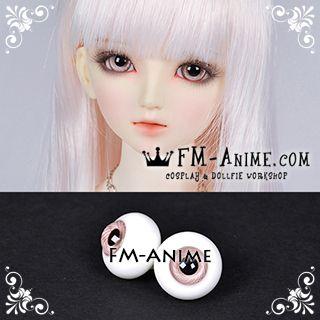 16mm Light Pink Spiral & Black Pupil BJD Dolls Glass Eyes Eyeballs Accessories (Slight Flaws)