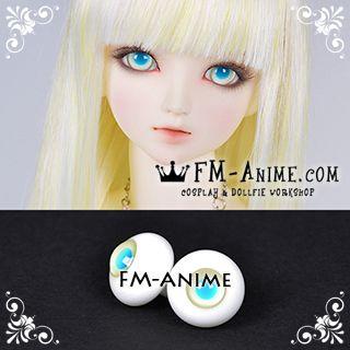 16mm Light Yellow & Water Blue Pupil BJD Dolls Glass Eyes Eyeballs Accessories