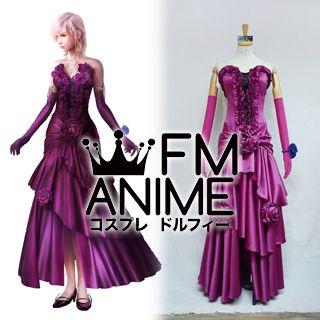 Lightning Returns Final Fantasy XIII Lightning Midnight Mauve Dress Cosplay Costume