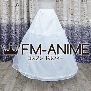 White 3 Hoop with Netting Long Crinoline Petticoat Underskirt Cosplay Costume Wedding Dress