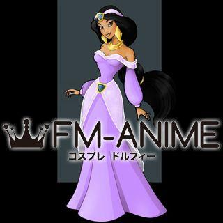 Disney Aladdin Princess Jasmine Purple Dress Cosplay Costume