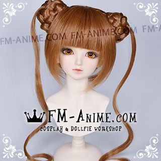 Short with Braided Twin Buns Gingerbread Brown BJD Dolls Wig