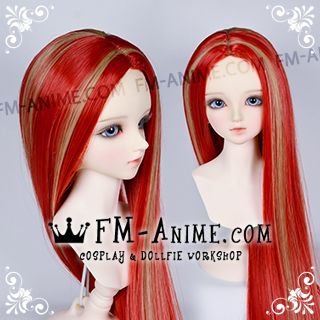 Long Straight Middle Part Hairstyle Red & Wheat BJD Dolls Wig
