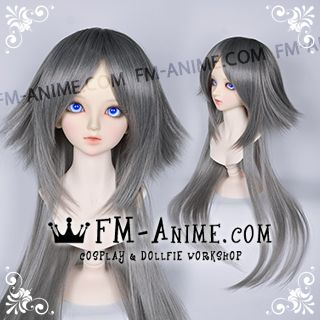 Medium Length Layered with Straight Ponytail Smoky Gray BJD Dolls Wig