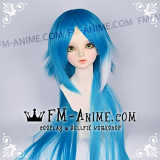 Medium Length Layered with Straight Ponytail Azure Blue & White BJD Dolls Wig