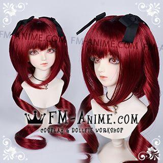 Medium Length Wavy Twintails Wine Red BJD Dolls Wig