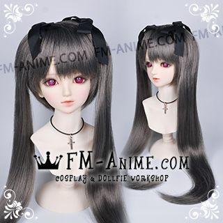 Medium Length Straight Twintails Smoky Gray BJD Dolls Wig