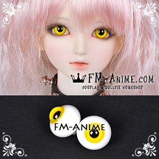 14mm Yellow Spiral & Black Pupil BJD Dolls Glass Eyes Eyeballs Accessories